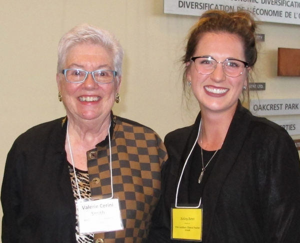 Kelsey Rowe, winning student, with Auxiliary President Val Smith